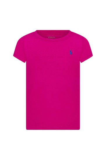 Girls Purple Cotton T-Shirt