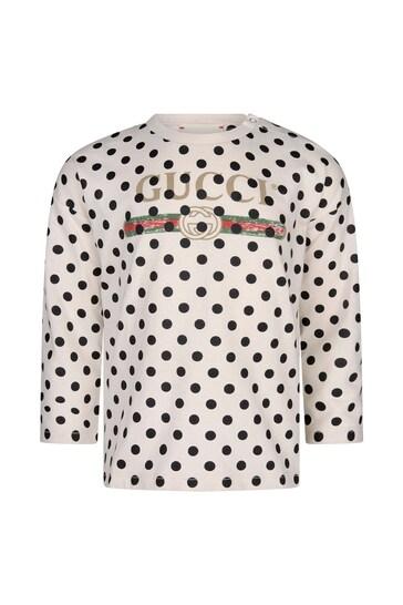 Baby White Cotton Polka Dots Vintage Logo T-Shirt