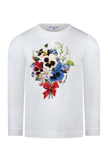 Girls Ivory Cotton Long Sleeve Flower T-Shirt