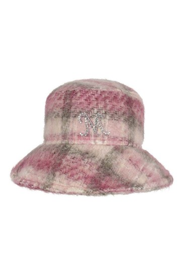Girls Pink Check Wool Hat