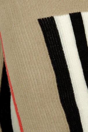 Girls Beige Icon Stripe Cotton Tights