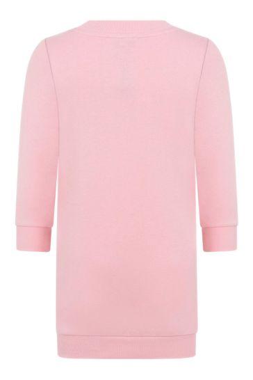 걸스 핑크 코튼 로고 스웨터 드레스