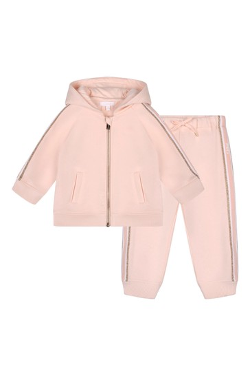 Baby Girls Pink Brushed Fleece Tracksuit
