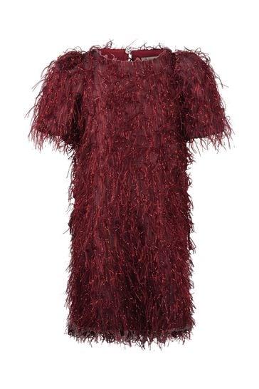 Girls Red Fringed Dress