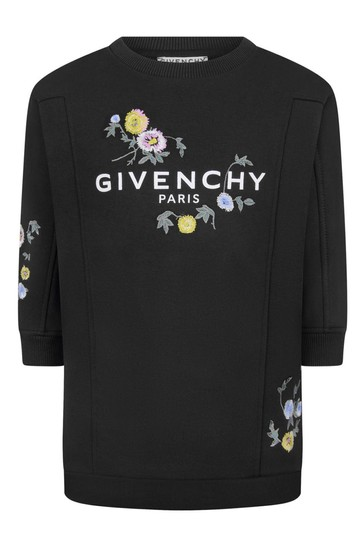 Girls Black Floral Embroidered Sweater Dress