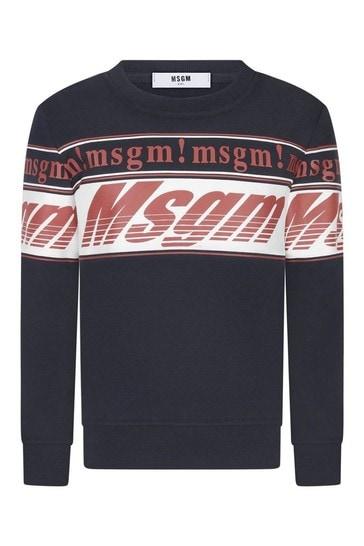 Boys Navy Cotton Logo Sweatshirt
