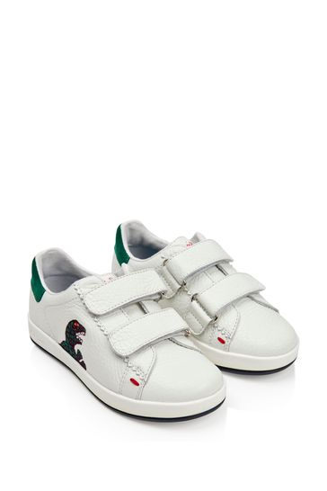 Junior Boys White Leather Velcro Trainers