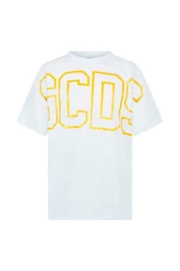 Kids White Cotton Fluorescent Logo T-Shirt