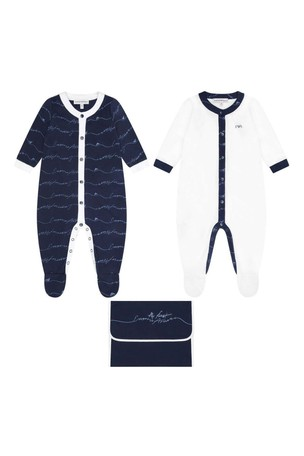 Boys Navy Cotton Logo Babygrow Set