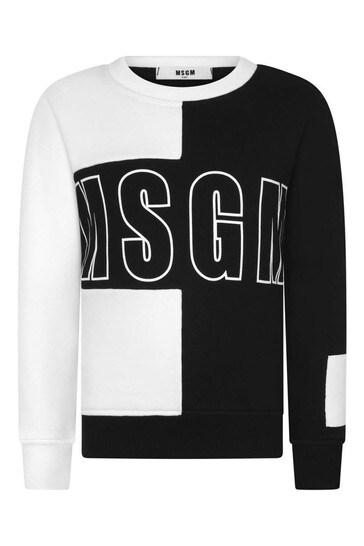 소년 흑백 블록 컬러 코튼 스웨트셔츠