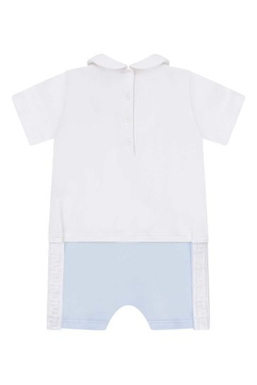 Baby Boys White/Blue Cotton All-In-One