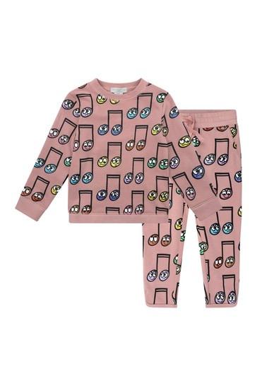 Girls Pink Fleece Happy Notes Tracksuit