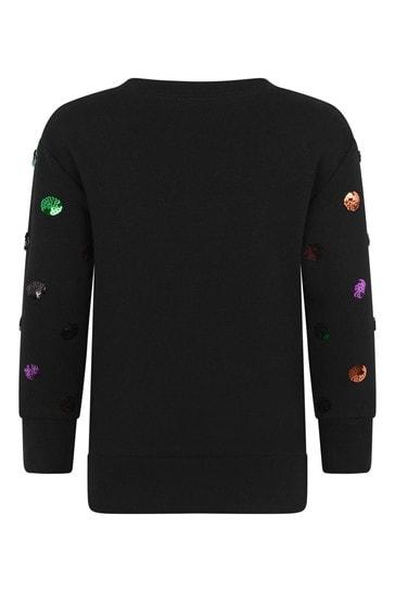 Girls Black Cotton Polka Dots Vintage Logo Sweatshirt