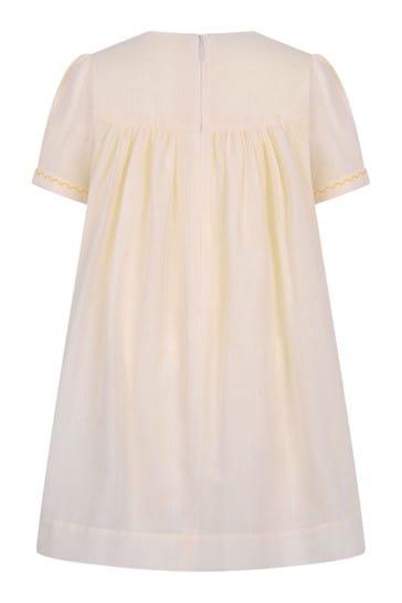 Girls White Cotton Striped Dress