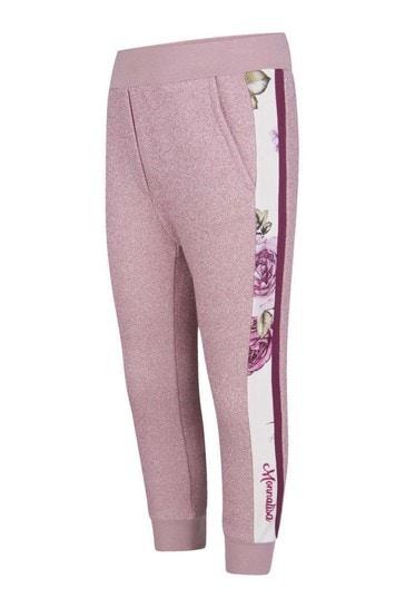Girls Pink Glittery Rose Joggers
