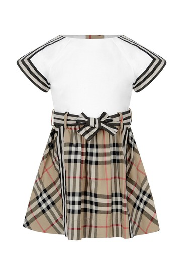 Baby Girls White And Vintage Check Cotton Dress