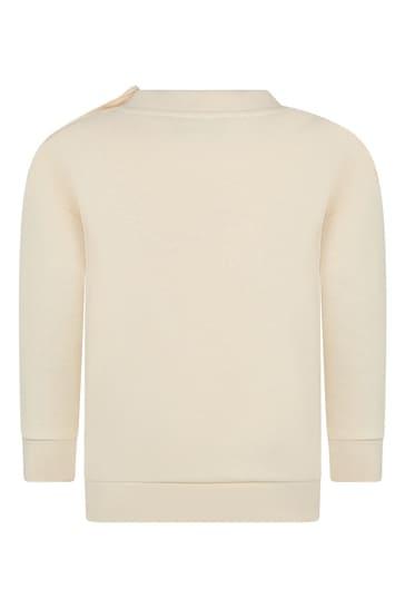 Baby Girls White Cotton Cherry Sweatshirt