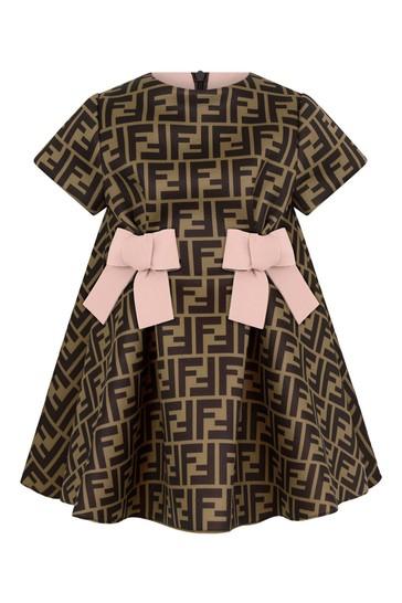Baby Girls Brown/Pink Neoprene Logo Dress