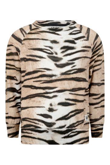 소녀 호랑이 줄무늬 유기농 면 스웨터