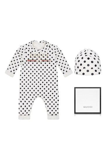 Baby White Cotton Polka Dots Vintage Logo Babygrow And Hat Gift Set