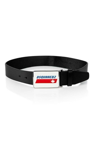 Boys Black Leather Logo Belt