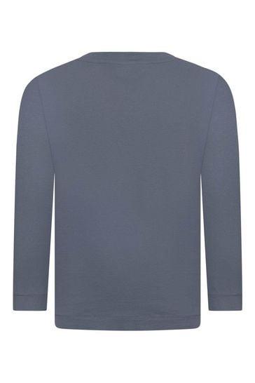 보이즈 블루 코튼 롱 슬리브 티셔츠