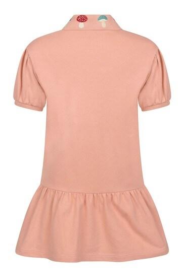 Girls Peach Pink Piquet Dress