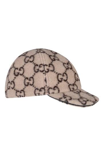Kids Beige Wool GG Cap