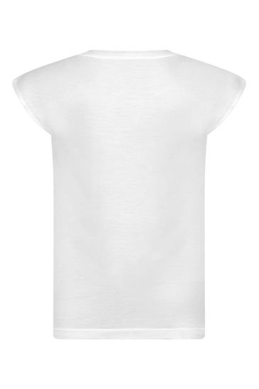 걸스 화이트/블랙 비스코스 로고 티셔츠