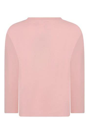 걸스 핑크 코튼 롱 슬리브 티셔츠