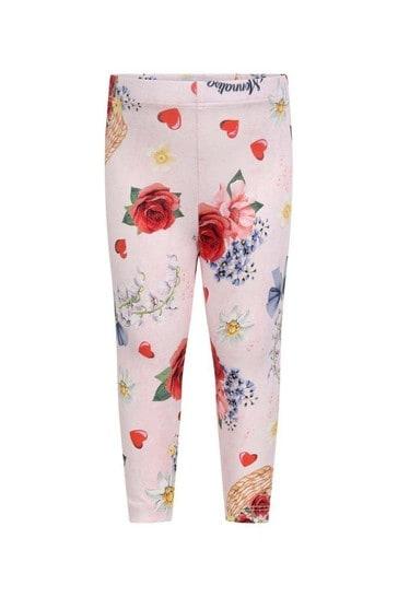 Baby Girls Pink Cotton Floral Leggings