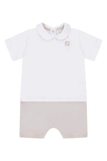 Baby Boys White/Beige Cotton All-In-One