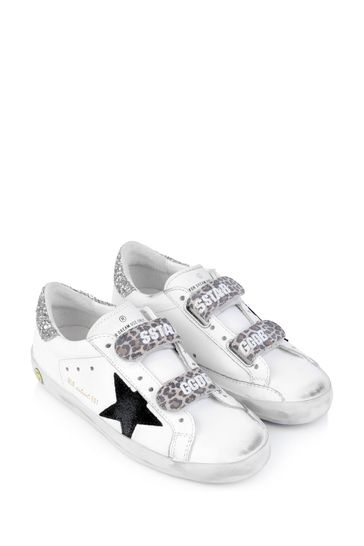 Kids White Leather & Glitter Heel Old School Trainers