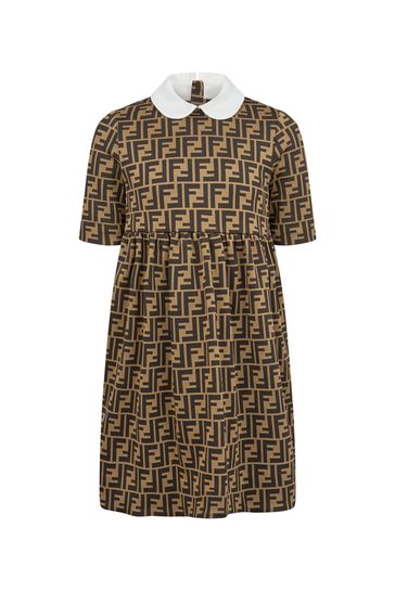 Girls Brown FF Logo Jersey Dress