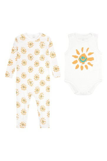 Baby White Cotton Babygrow Gift Set