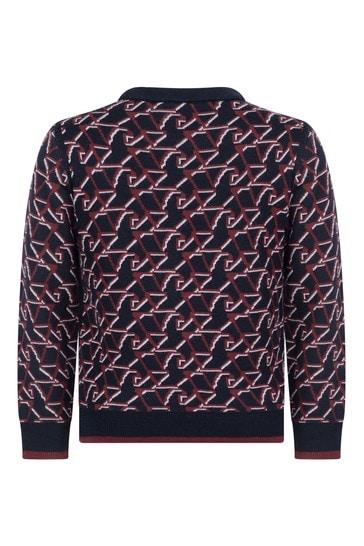 Armani Emporio Boys Navy Blue & Red Wool Logo Jumper