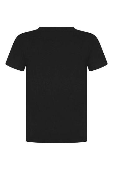 Boys Black Dinosaur Cotton T-Shirt