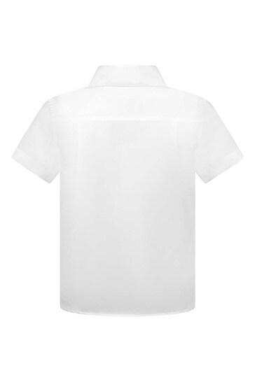 Boys White Cotton Short Sleeve Shirt