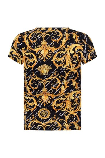 Boys Black & Gold Baroque Cotton T-Shirt