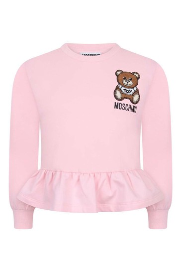 Girls Pink Cotton Teddy Sweater