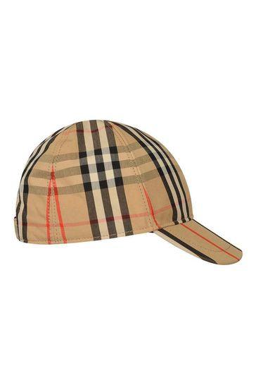 Kids Beige Vintage Check Cotton Cap