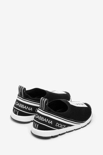 Girls Black/White Branded Slip-On Trainers