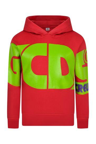 Kids Red Cotton Logo Hoody