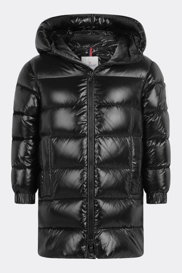 Boys Black Down Padded Berry Coat