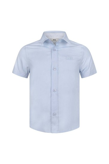 Boys Blue Cotton Short Sleeve Shirt