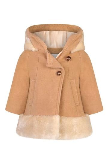 Baby Girls Beige Wool & Faux Fur Coat