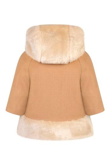 Baby Girls Beige Wool Faux Fur Coat, Fur Coat For Baby Girl