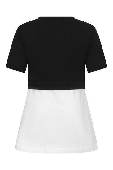 Girls Black/White Cotton Fleece Dress
