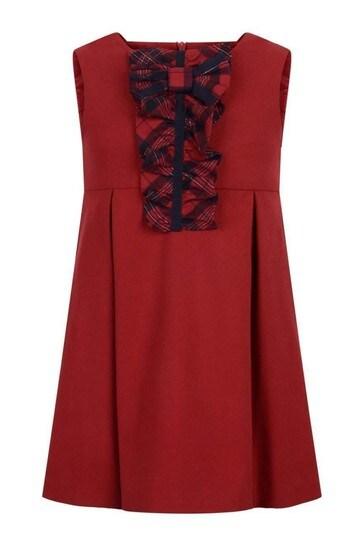 타탄 루슈와 여자 레드 민소매 드레스