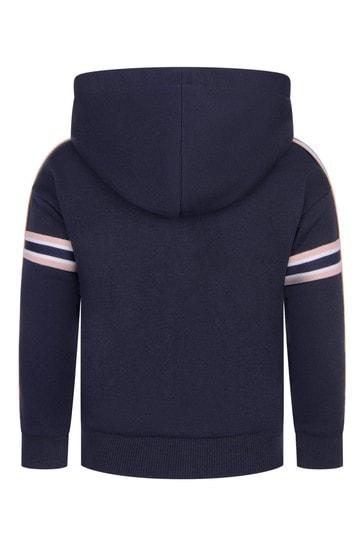 Girls Navy Cotton Zip-Up Top